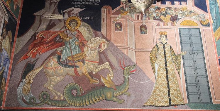 Pyhä Yrjänä, prinsessa ja kesytetty lohikäärme.