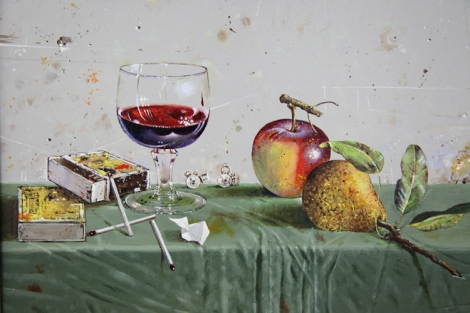 """Mala mrtva priroda sa casom"" (Pieni asetelma lasin kanssa) Milan Miletic 2014, öljy, 25x30cm."