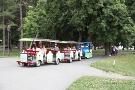 Puistossa voi hypätä myös pikkujunan kyytiin.